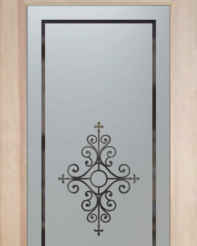 Pantry door etched glass sans soucie art glass - Glass Pantry Door With Frosted Glass Maya Design A