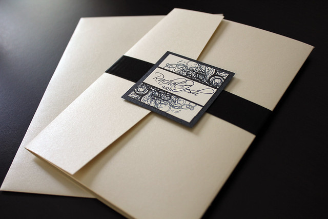 Champagne and Black colored wedding invitations printed on ivory linen