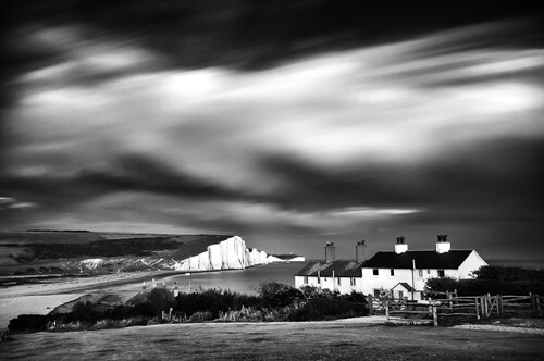longexposure sea cliff white storm black clouds landscape sussex mono nikon cottages cuckmerehaven seafordhead nd110 coastuk d300s 96seconds