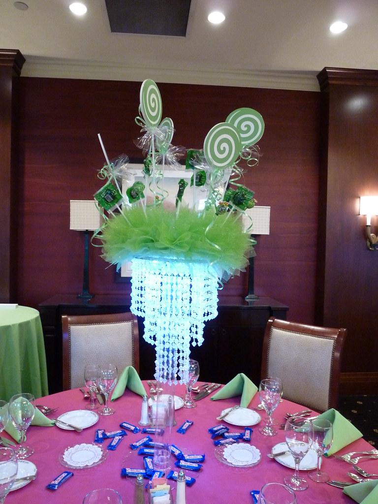 Lollipop light up centerpiece for candy theme bar mitzvah
