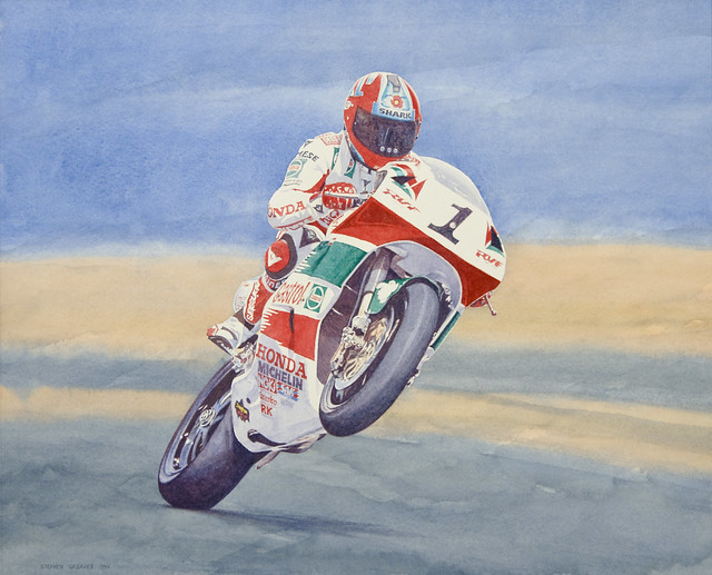 Carl Foggy Fogarty World Superbike Motorbike Racing Champion - Watercolour Painting by Steve Greaves