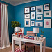 Bright teal office + zigzag rug: Benjamin Moore 'Electric Blue'