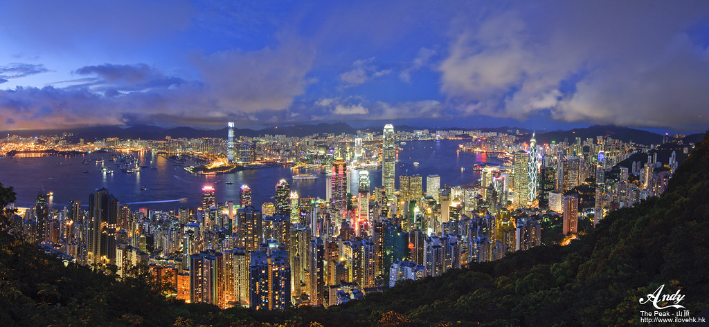 Night view of Victoria Harbour from Victoria Peak