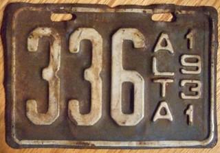 ALBERTA 1931 ---MOTORCYCLE PLATE