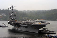 BREMERTON, Wash. (July 25, 2011) The Nimitz-class aircraft carrier USS John C. Stennis (CVN 74) departs Naval Base Kitsap. (U.S. Navy photo by Mass Communication Specialist 2nd Class Kyle Steckler)