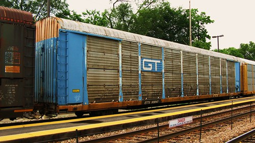 A former Grand Trunk Western Tri Leval Auto Rack car in transit.  River Grove Illinois USA. Sunday, July 24th, 2011. by Eddie from Chicago