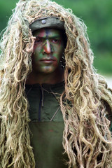 hairstyle, clothing, head, hair, green, long hair, ghillie suit,
