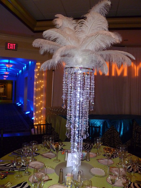 Chandelier Centerpieces with feather tops and LED Lights for a Bat Mitzvah
