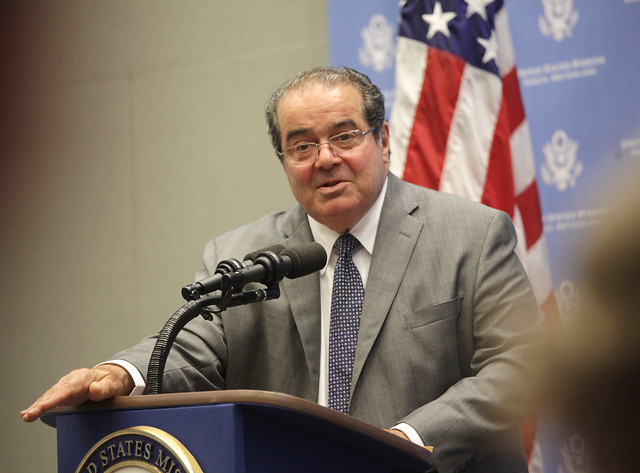 Justice Antonin Scalia Speaks with Staff at the U.S. Mission in Geneva