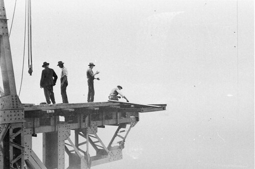 Up there with the riggers [Sydney Harbour Bridge construction], c. 1930-1932, by Ted Hood