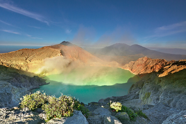 The world's largest acidic volcanic crater lake, Ijen Crater.