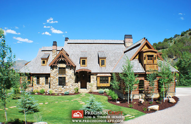 Front Elevation of this Hybrid Log & Timber Home Located in Idaho