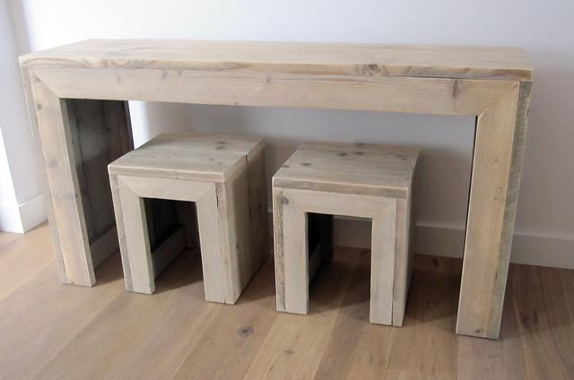 Sidetable 150 x 40 x 80 cm plus krukjes steigerhout for Koi 80 cm te koop