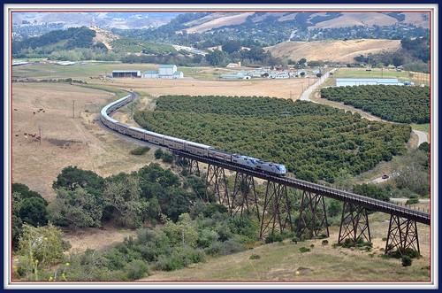 california railroad travel july amtrak sanluisobispo northbound chorro coaststarlight 2011 stennertrestle questagradecurves