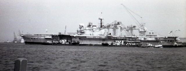 HMS Hermes (R12) Centaur Class Light Fleet Aircraft Carrier at Portsmouth Navy Day 1970