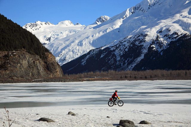 snow biking photography