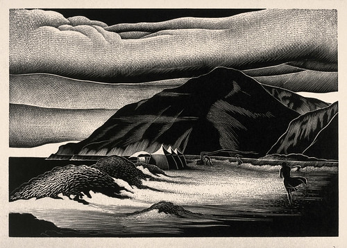 """Campers"" - Paul Landacre - Wood Engraving - 1940?"