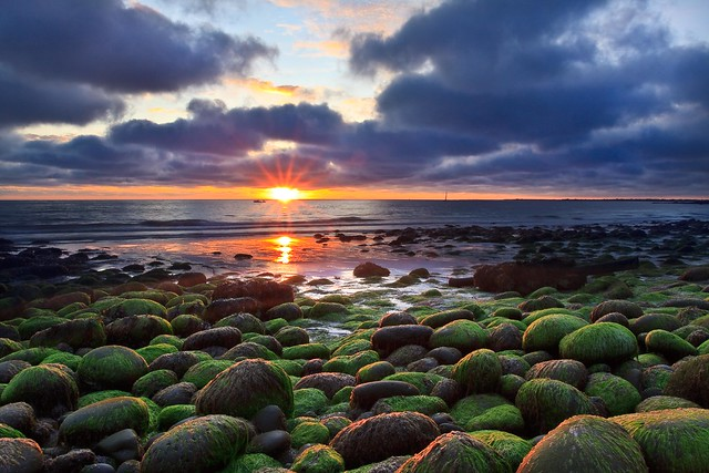 Green rocks and sunset (Explored)