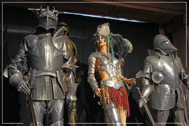 Harry Potter Exhibition - London Film Museum: Left Master Armourer Terry English's Headless Knight Armour from The Half-Blood Prince and on the right Sir Cadogan's Armour from The Prisoner of Azkaban