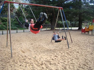 Playing on the swings with Ruby & imitating ridiculous birds at Whale Beach, Sydney! ♥