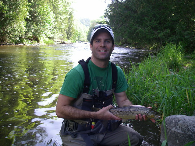 Tim with a nice brown trout from the Credit river