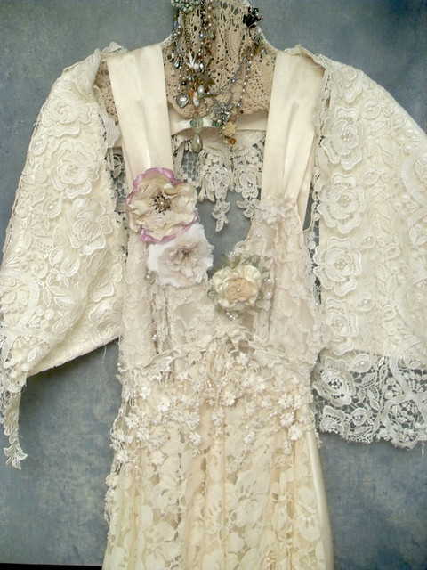 custom made boho wedding dress made from upcycled vintage laces