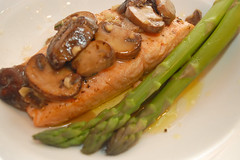 Olive Oil Poached Salmon with Chanterelles and Asparagus