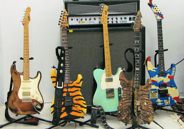 The guitars that geoge lynch played at this recent clinic for Motor city guitar waterford