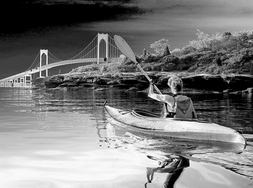 Kayaking in Mackerel Cove (B&W) - Jamestown, Rhode Island