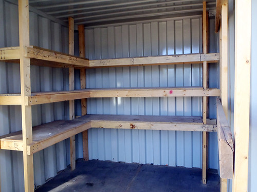 shelving in a 10' container