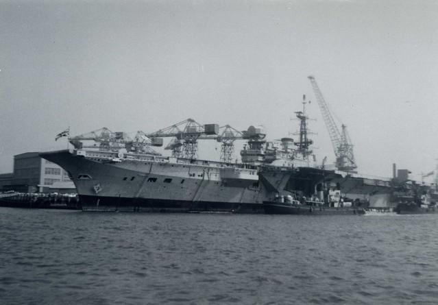 HMS Hermes (R12) Centaur Class Light Fleet Aircraft Carrier Portsmouth Navy Day 1970