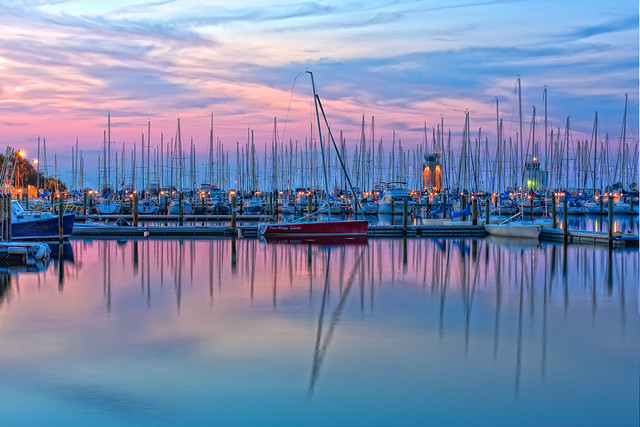 Boats at Dawn in St Petersburg Marina