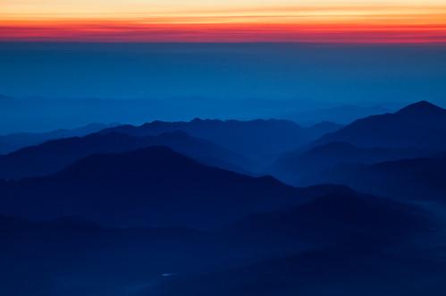 blue abstract mountains silhouette japan sunrise hiking scenic mtfuji 9thstation subashiritrail agustinrafaelreyes