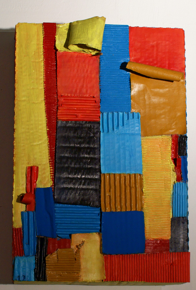 Composition in Primaries by Tiffany Gholar. Acrylic on cardboard