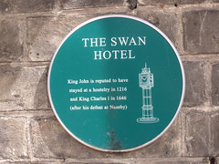 Photo of The Swan Hotel, Downham Market, Charles I, and John green plaque