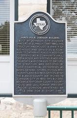 Photo of Lyndon Baines Johnson black plaque