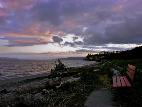 ocean beach water train sunrise bench washington log sand purple pugetsound lonely edmonds brackettslanding blinkagain