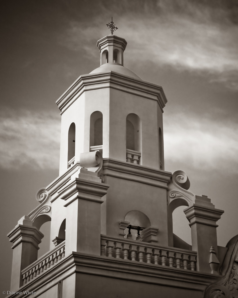 San Xavier Bell Tower in Black and White