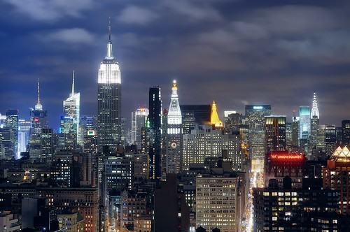 midtown manhattan at night, nyc by andrew c mace