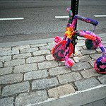 Yarnbombed bike in Greenwich Village