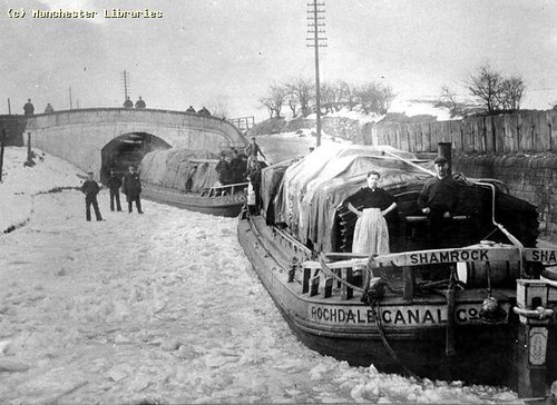 Rochdale Canal frozen at Walk Mill, 1895