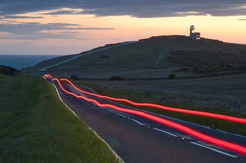 road sunset night sussex horizon hills explore eastbourne lighttrails beachyhead tout catseyes explored 2belle