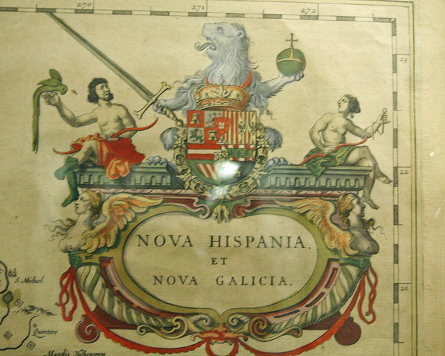 Spanish coat-of-arms on an old map of Texas