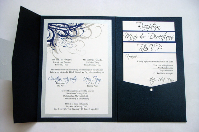 Navy Blue Wedding Invitations: Blue (Navy) And Silver Vietnamese Wedding Invitations