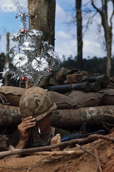 In a bunker on Hill 875, a touch of home in the form of a Christmas tree from home, 1967, unattributed