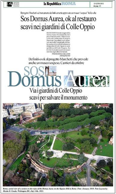 IL PROGETTO - Domus Aurea, per salvare il sito via i giardini di Colle Oppio. La Repubblica (15/07/2011), p.15.