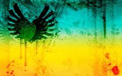 Free Grunge Hearts Stock BackgroundsEtc Wallpaper -Deep Green Orange