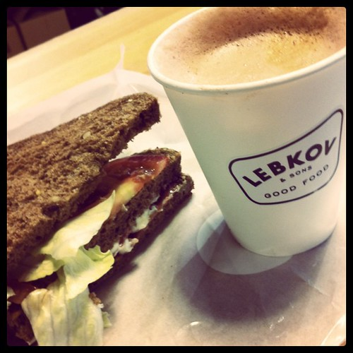 BLT Sandwich with Chocolate Latte