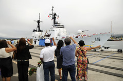 PEARL HARBOR (July 27, 2011) – Members of the Hawaii Filipino community welcome the Philippine Navy's newest ship, BRP Gregorio del Pilar (PF-15), as it arrives at Joint Base Pearl Harbor-Hickam for a scheduled port visit. (U.S. Navy photo by Mass Communication Specialist 2nd Class (SW) Mark Logico/Released) See more photos.