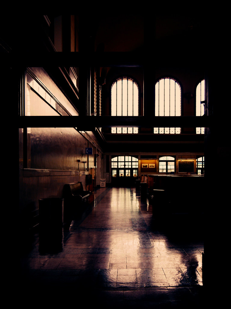 <i>Time travels with the trains: The interior of Union Station, Wynkoop Street, between 16th and 18th, Denver, CO</i> (2011). Photograph by whitRET. Flickr